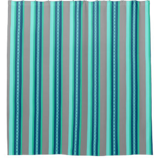 Mid-Century Awning Stripe, Turquoise and Gray Shower Curtain
