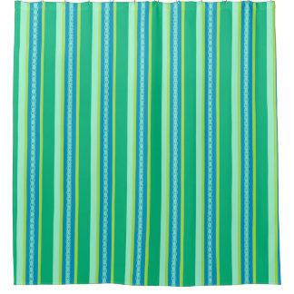 Mid-Century Awning Stripes, Jade Green Shower Curtain