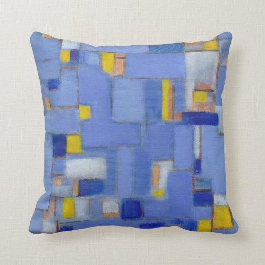 Mid Century Blue Abstract Original Art Pillow