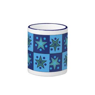 Mid Century Blue Stars Ringer Mug