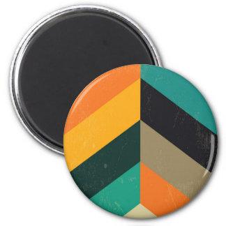 Mid Century Chevron 6 Cm Round Magnet