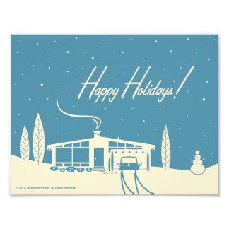 Mid-Century Christmas Snowscene -Blue Photo Print