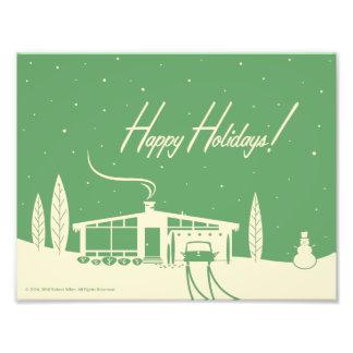 Mid-Century Christmas Snowscene -Green Photo Print
