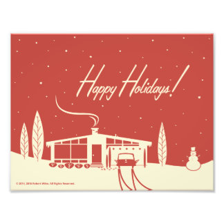 Mid-Century Christmas Snowscene -Red Photo Print