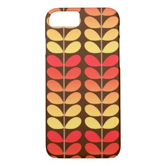 Mid Century Danish Leaves, Brown, Orange & Gold iPhone 8/7 Case