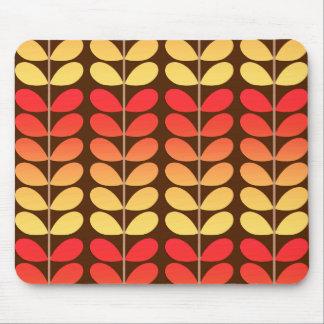 Mid Century Danish Leaves, Brown, Orange & Gold Mouse Mat