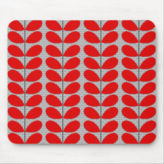 Mid Century Danish Leaves, Deep Red & Gray / Grey Mouse Mat