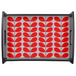 Mid Century Danish Leaves, Deep Red & Gray / Grey Serving Tray