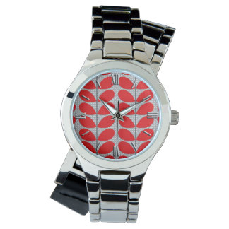Mid Century Danish Leaves, Deep Red & Gray / Grey Watch