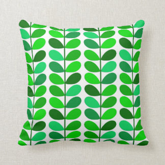 Mid Century Danish Leaves, Emerald and Lime Green Cushion