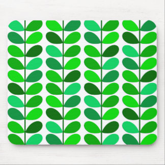 Mid Century Danish Leaves, Emerald and Lime Green Mouse Mat