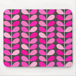 Mid Century Danish Leaves, Fuchsia Pink and Gray Mouse Mat