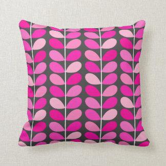 Mid Century Danish Leaves, Fuchsia Pink and Gray Throw Pillow