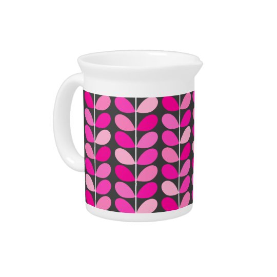 Mid Century Danish Leaves, Fuchsia Pink and Grey Pitcher