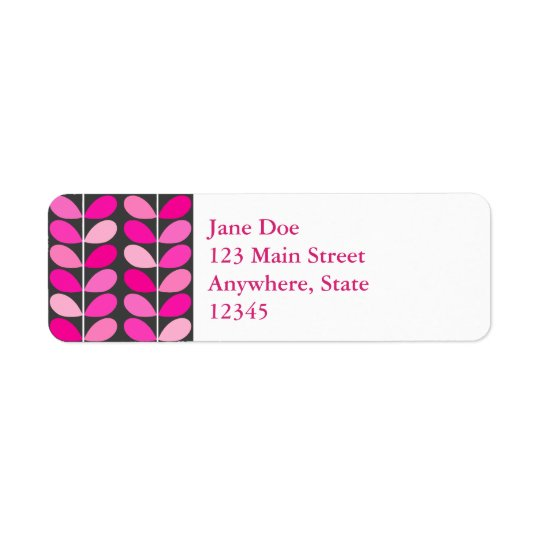 Mid Century Danish Leaves, Fuchsia Pink and Grey Return Address Label