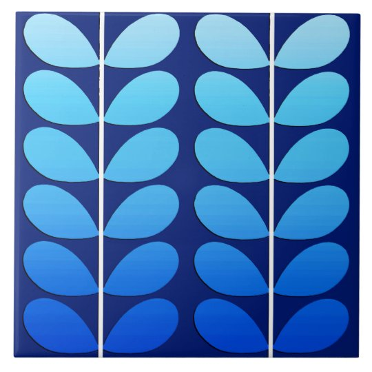 Mid Century Danish Leaves, Navy and Cobalt Blue