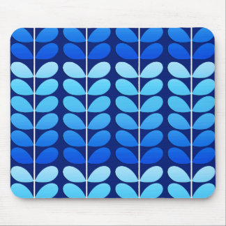 Mid Century Danish Leaves, Navy and Cobalt Blue Mouse Mat