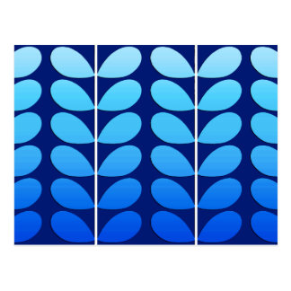 Mid Century Danish Leaves, Navy and Cobalt Blue Postcard