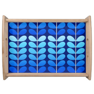Mid Century Danish Leaves, Navy and Cobalt Blue Serving Tray