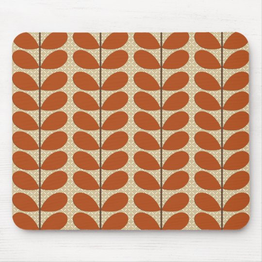 Mid Century Danish Leaves, Rust Brown and Beige Mouse Mat