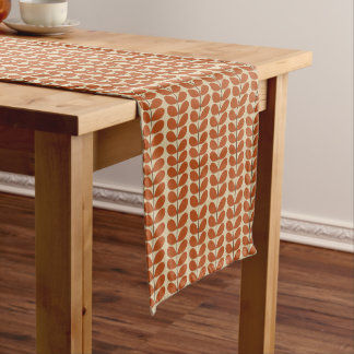 Mid Century Danish Leaves, Rust Brown and Beige Short Table Runner