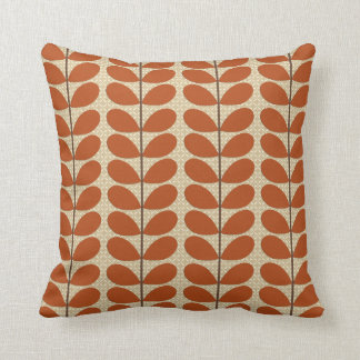 Mid Century Danish Leaves, Rust Brown and Beige Throw Pillow