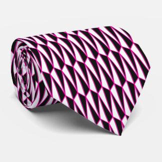 Mid-Century geometric, black, white, hot pink Tie