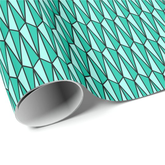 Mid-Century geometric, teal and aqua Wrapping Paper