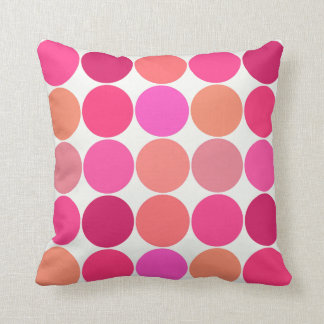 Mid-Century Giant Dots, Fuchsia Pink and Coral Cushion