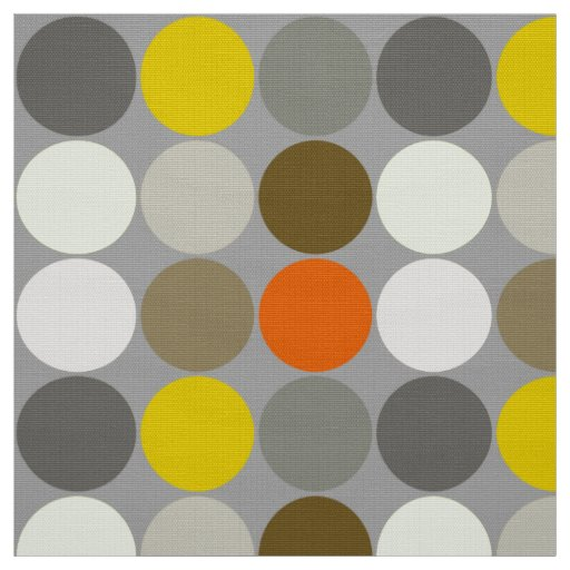 Mid-Century Giant Dots, Grey, Gold and Orange Fabric
