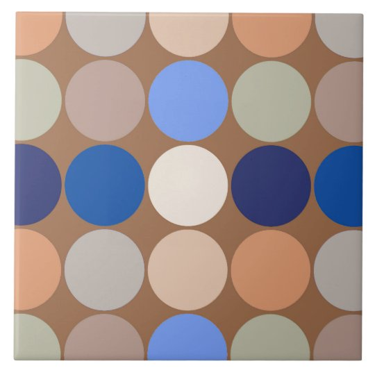 Mid-Century Giant Dots, Taupe, Beige and Blue Tile
