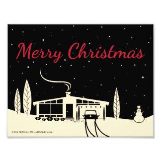 Mid-Century Merry Christmas Snowscene -Black Photo Print