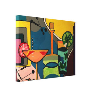 'Mid Century Mod Cocktails' painting on a Canvas Print