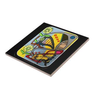 Mid Century Mod Garden Bee painting on a Tile