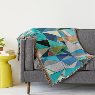 Mid-Century Modern Abstact, Turquoise and Neutrals