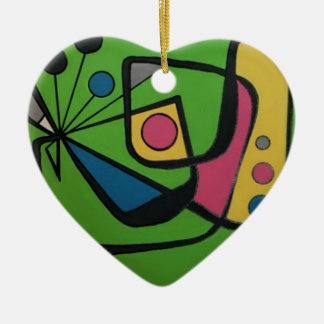 'Mid Century Modern Abstract #4' on a Ceramic Heart Decoration