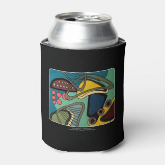 'Mid-Century Modern Abstract Aquatic' painting on Can Cooler