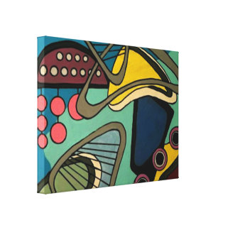 'Mid-Century Modern Abstract Aquatic' painting on Canvas Print