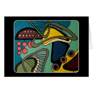 'Mid-Century Modern Abstract Aquatic' painting on Card