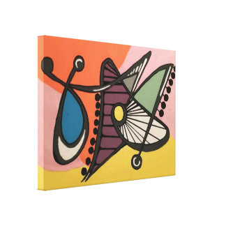 'Mid-Century Modern Abstract, Butterfly' painting Canvas Print