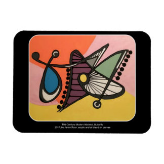 'Mid-Century Modern Abstract, Butterfly' painting Rectangular Photo Magnet