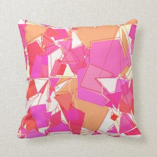 Mid-Century Modern Abstract, Fuchsia, Coral Orange Throw Pillow