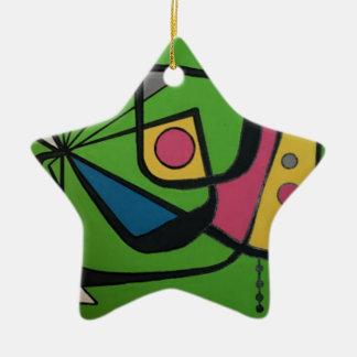 'Mid Century Modern Abstract num 4' on a Ceramic Star Decoration