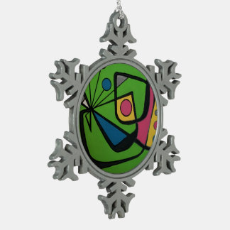 'Mid Century Modern Abstract num 4' on a Pewter Snowflake Decoration
