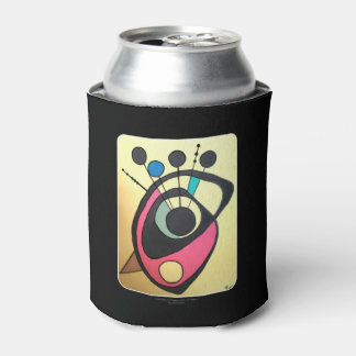 'Mid Century Modern Abstract Peacock' on a Can Cooler
