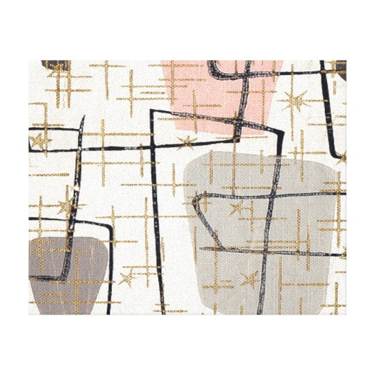 Mid Century Modern Abstract Stretched Canvas Print