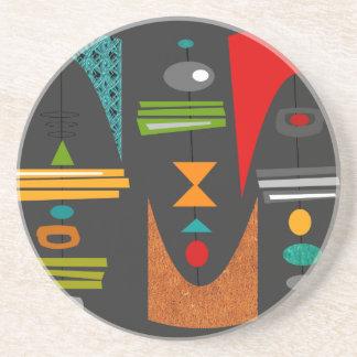 Mid-Century Modern Abstract Tiki Tok Beverage Coaster