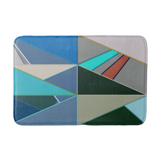 Mid-Century Modern Abstract, Turquoise & Neutrals Bath Mat