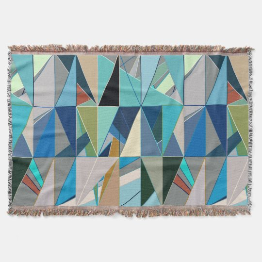Mid-Century Modern Abstract, Turquoise & Neutrals Throw