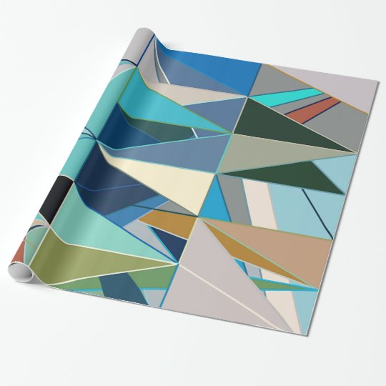 Mid-Century Modern Abstract, Turquoise & Neutrals Wrapping